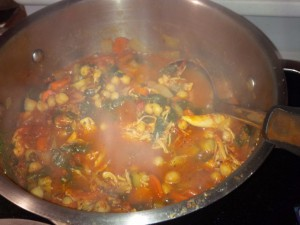 All ingredients in and simmering on the stove