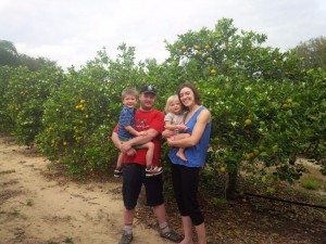 Picking oranges with family and friends in Clermont, FL.